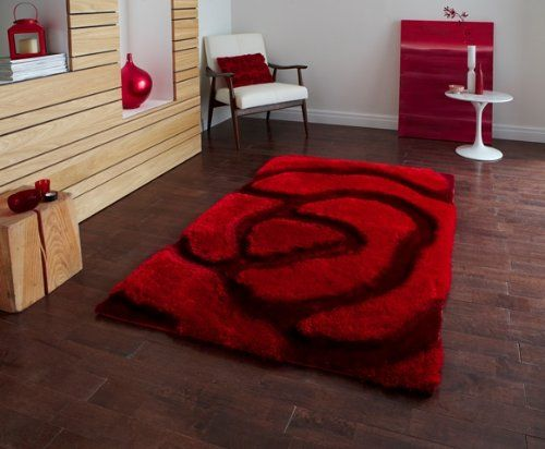 Luxurious Rich Red Multi Textured Shaggy Rose Print Rug Piccadilly 659 3 Sizes Available The