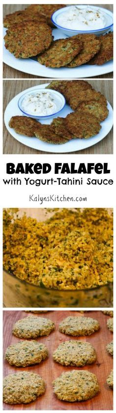 Baked Falafel Patties Recipe with Yogurt-Tahini Sauce (Meatless) [from KalynsKitchen.com]
