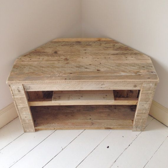 Handmade Rustic Corner Table/Tv Stand With Shelf. Reclaimed