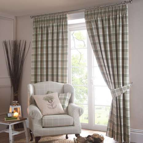 Balmoral Green Lined Pencil Pleat Curtains | Dunelm