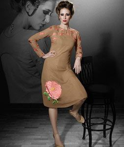 Shop Beige Georgette Readymade Kurti 71798 online at best price from vast collection of designer kurti at Indianclothstore.com.