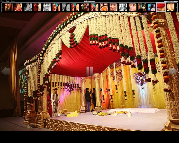 mandap traditional draped Indian flower garlands for ribbon garlands and altar canopy