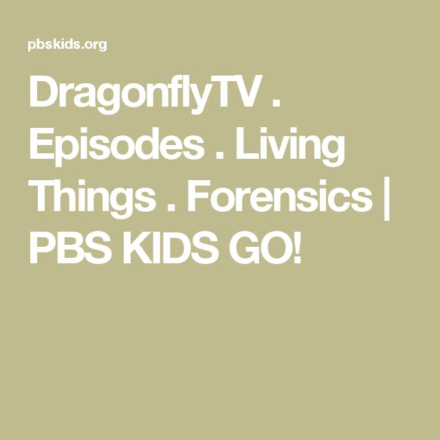 DragonflyTV . Episodes . Living Things . Forensics   PBS KIDS GO!