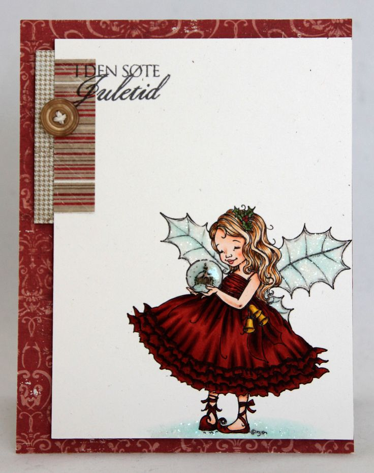 Clean and simple Christmas card. Mo Manning image colored with Copics. Patterned paper by Maja Design.