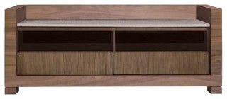 Tao Small Tv Bench, Walnut - contemporary - media storage - by Inmod