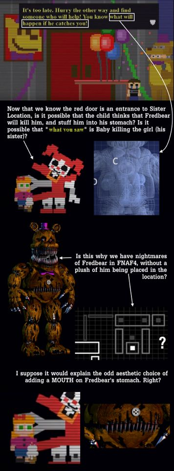 What if the crying child fears Fredbear will hurt him because Baby kidnapped his sister? Theory created by -popgoes on Reddit: https://m.reddit.com/r/fivenightsatfreddys/comments/56uiyw/spoilers_the_child_in_fnaf4_likely_saw_his_own/?utm_source=mweb_redirect&compact=true