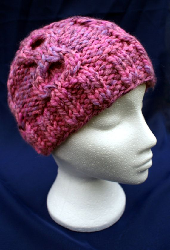 Warm & cosy hand knitted thick cabled beanie hat in 'Carnation' pink. Handknit hat. Knit hat. Wool hat