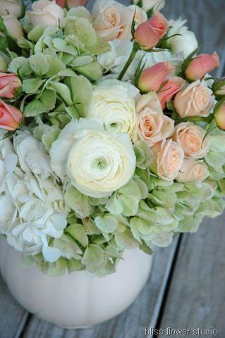 hydrangeas, white ranunculus, 'Jana' spray roses and an apricot spray rose