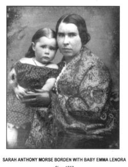 Baby Emma Borden with her and Lizzie's real mother Sarah Anthony Morse Borden.