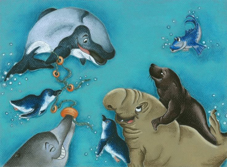 """""""Hector and Blue"""". Another illustration from my New Zealand sea life series used for a postcard. Pastel Pencil on Canson pastel Paper"""