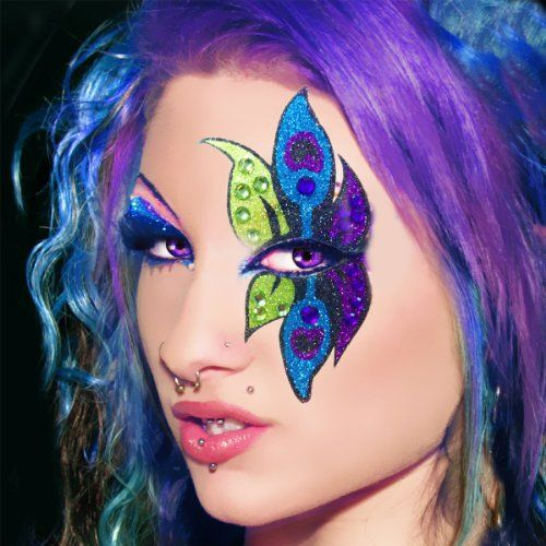 "Another version of the ""peacock"" eye makeup look.  Here's were I found it: http://mayanka.com/makeup-brushes-tools/eyelash-tools/fake-eyelashes-adhesives/peacock-xotic-eyes-professional-eye-make-up-green-purple-blue-costume-3003: Exotic Eye, Halloween Eye, Blue Flowers, Peacock Makeup, Halloween Costumes, Halloween Makeup, Body Art, Easy Eye Makeup, Eye Make Up"