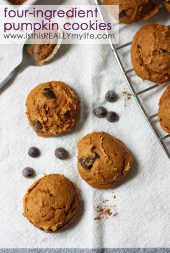 4-ingredient chocolate chip pumpkin cookies: spice cake mix, can of pumpkin, pumpkin pie spice & chocolate chips. Or make them with JUST TWO ingredients (cake mix & pumpkin) if you're desperate! | isthisREALLYmylife.com #cookie #pumpkin #dessert