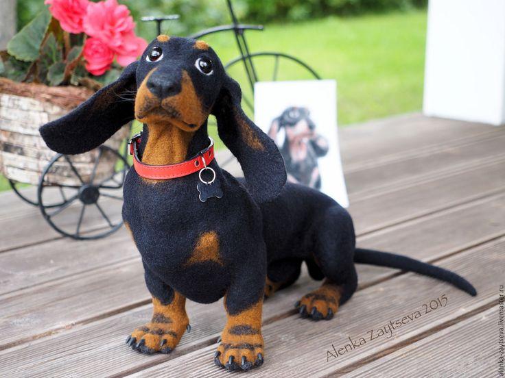 Купить Валяная скульптура Такса Лорд - черный, Валяние, валяная игрушка, валяная собака