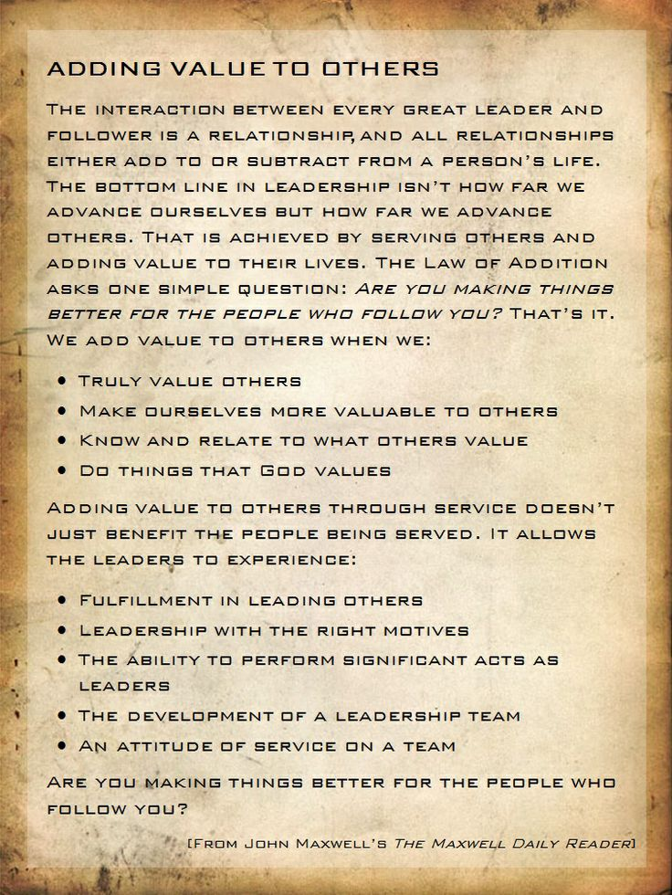 Adding Value to Others - John Maxwell