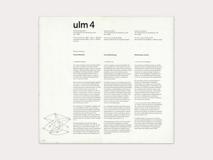ulm 4 — Quarterly bulletin of the Hochschule für Gestaltung / April 1959, Anthony Froshaug