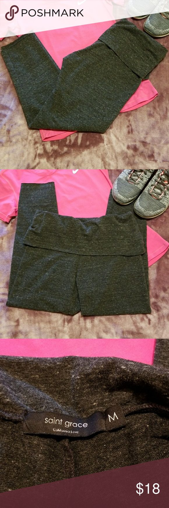 Saint Grace fold over crop leggings size medium Super cute and in very good  pre loved condition.  Saint Grace fold over crop leggings. Size Medium. Measurements in pictures. Feel free to ask questions. Made in USA (Accessories not included). Saint Grace Pants Leggings