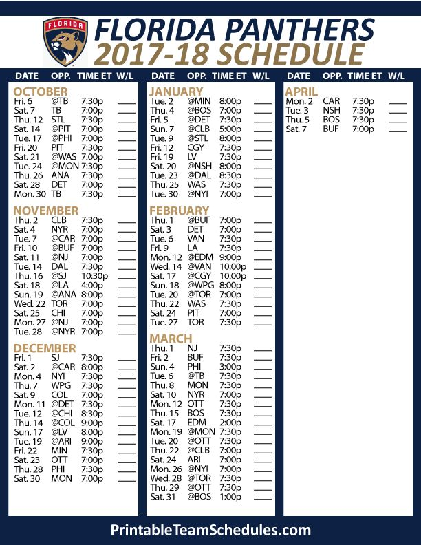 Florida Panthers Hockey Schedule 2017-18