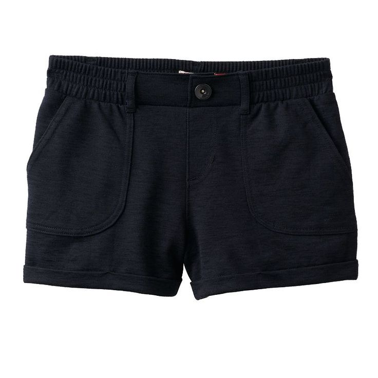 Girls 7-16 SO® French Terry Slubbed Soft Shorts, Girl's, Size: 14, Black