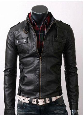 Handmade men black belted leather jacket, men front flap button pockets belted Black leather jacket, Only $129.99
