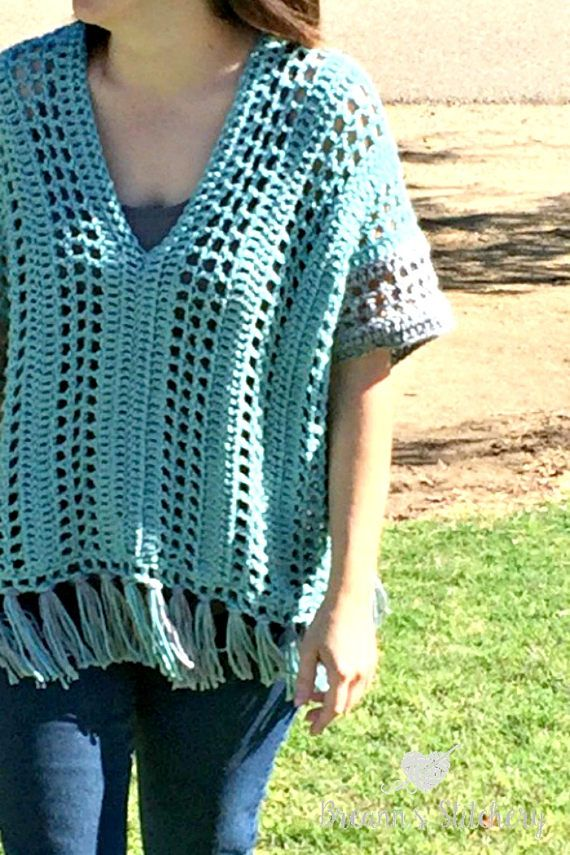 This listing is for the **PDF PATTERN ONLY**  This pattern is an inexpensive, ad free, clearly formatted, PDF instant download that is available for free on my blog: http://www.breannsstitchery.com/spring-breeze-poncho-crochet-pattern/  This Spring Breeze Poncho is a little shorter than your typical poncho, with an open and airy pattern. Since its spring, I didnt want anything too heavy.  Finished poncho measures approximately 17 inches tall (without the fringe) and approx...