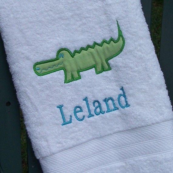 Monogrammed Kids Bath Towel with Alligator by MissMonogram on Etsy, $30.00