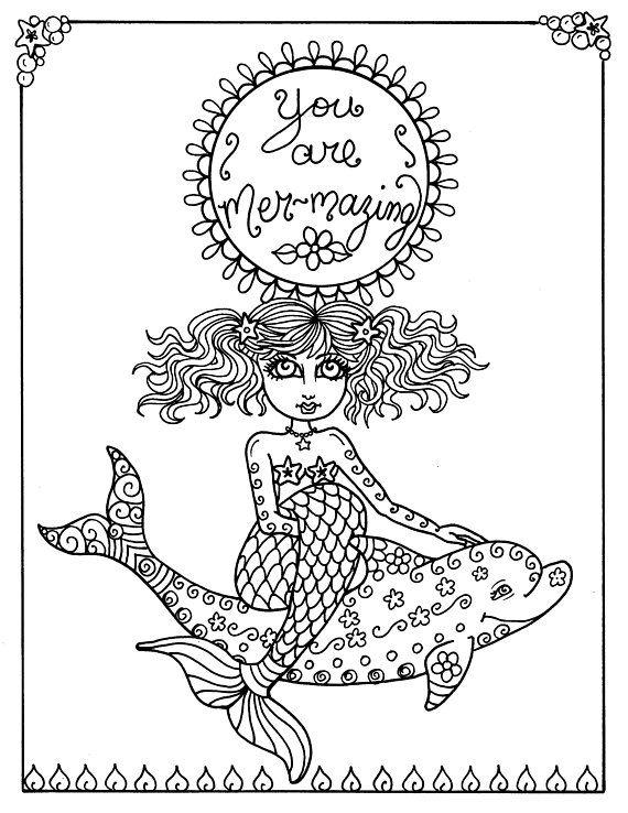Digital Coloring Book Download And Color Mermaid Soul Etsy Coloring Book Download Coloring Books Mermaid Coloring Book