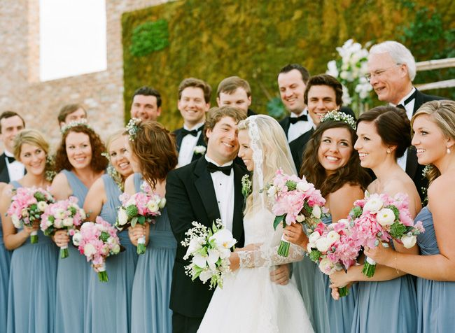 Film Wedding Photographer | www.buffydekmar.com Monique Lhuillier Bridesmaids // Oscar de la Renta bridal // RiverMill Event Centre // Glen Albright Florals