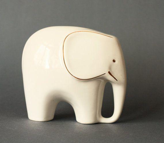 MidCentury Modern Porcelain Elephant Figurine by GoGoBerlinette
