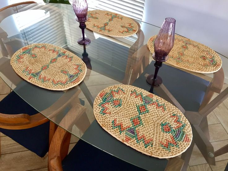 Southwestern Placemats Set of 4 / Woven Wicker Southwestern Geometric Placemats / Native American Bohemian Dinner Charger Plates Table Decor by ShopRachaels on Etsy https://www.etsy.com/listing/511792021/southwestern-placemats-set-of-4-woven
