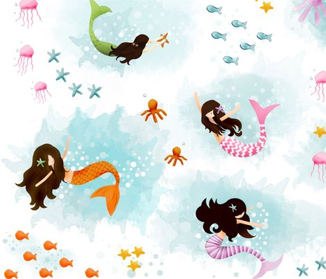 "New ""Playing with Bubbles"" fabric. Modern mermaids play with their sea-life friends."