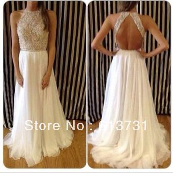 2014 New Arrival Sexy High Neck Beaded Top White Chiffon Prom Dresses Long Open Back For Special Occasion Dresses BO4473