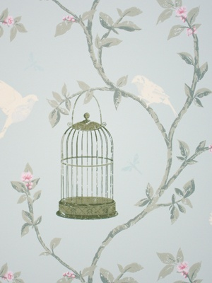 Birdcage walk wallpaper from Nina Campbell Dressing Room option