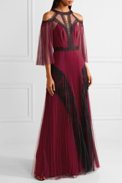 Marchesa Notte - Cold-shoulder Lace-paneled Pleated Tulle Gown - Burgundy
