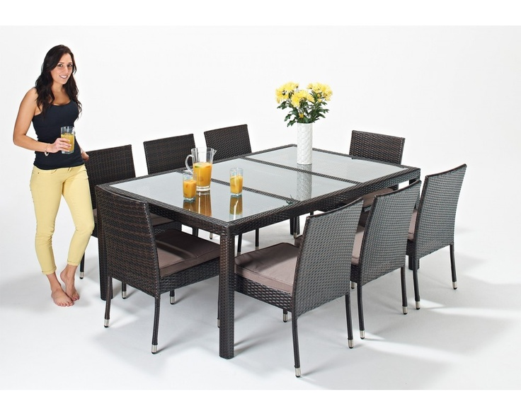 This 8 seat Rattan Dining Set includes the Dining Table and 6 chairs. The table is finished off with a tempered glass top.