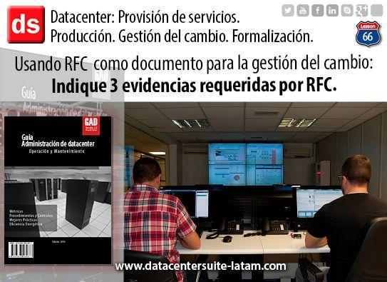 Datacentersuite, Datacenter Usando RFC como documentos para la gestión del cambio: indique 3 evidencias requeridas por RFC.