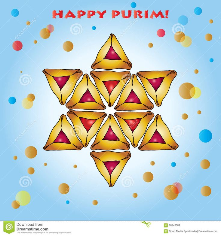 Happy Purim greeting card stock vector. Illustration of confetti - 68846589