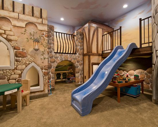 Fascinating and Cool Bedroom Designs for Kids with Kids Furniture Ideas : Georgeos And Cool Bedroom Designs For Kids With Play Area Tiny Table With Tiny Chairs Iron Railling Stones Decor Wall Blue Slide Wall Mounted Lighting