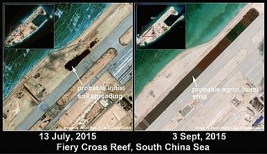 Fiery Cross Reef runway close-up July & September 2015. By Victor Robert Lee.