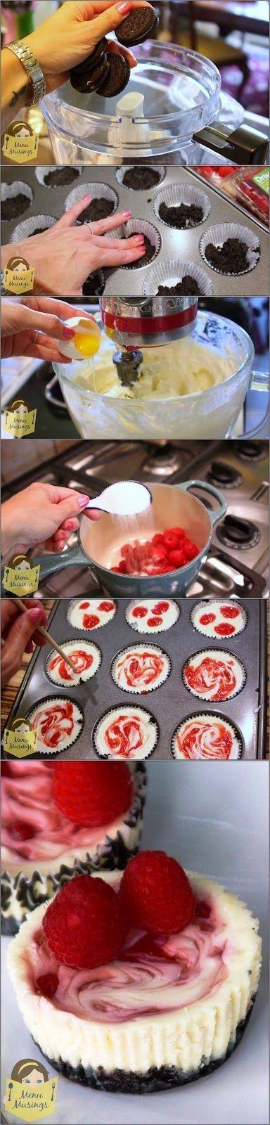 all-food-drink: Raspberry Swirl Mini Cheesecakes