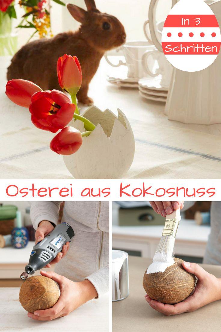 Wer hat die Kokosnuss geklaut? Na der #osterhase natürlich!  #ostern #osterdeko #ostereier #kokosnuss #dekoration #diy #basteln #bastelidee #bastelanleitung