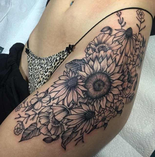 Sunflower Hip Tattoo by Emily Elinski
