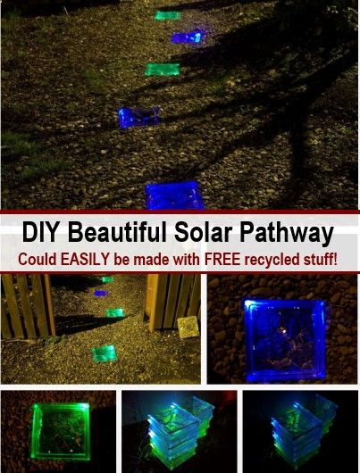How awesome does that look? This solar light pathway is made with glass blocks and solar powered LED lights. In the tutorial below, most of the items used were purchased, but I think you could pick up almost everything required for free if you ask around...