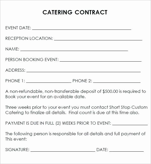 Contract For Catering Services Template New Best Catering Contract Template Word Event Template Contract Template Catering Services Catering