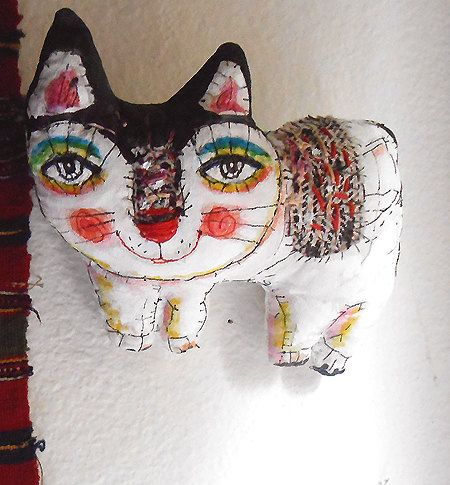 Original art doll White kitty folk art with stitches por miliaart