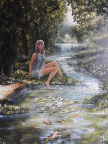 """Saatchi Art Artist Tatiana Wilson; Painting, """"The Beautiful nymph in the shade of trees (My sister)"""" #art"""
