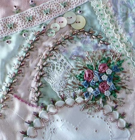 I ❤ ribbon embroidery & crazy quilting . . . fantastic work! www.pintangle.com