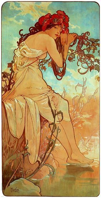 (Alfons Mucha, Estate)     H ai cercato  nelle maglie di rete nera,  l'azzurro tra il metallo.  Aspettavi la magia  della tua verd...