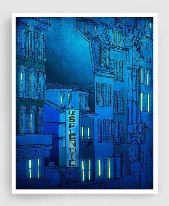 Buongiorno Parigi  Parigi Fine arte illustrazione arte di tubidu