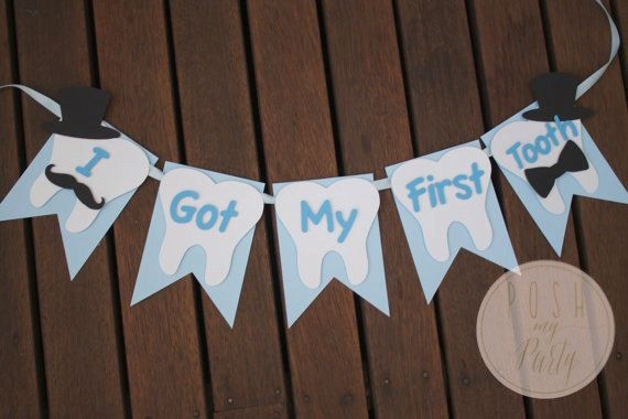 TOOTH PARTY BANNER First Tooth Party Moustache & by PoshMyParty