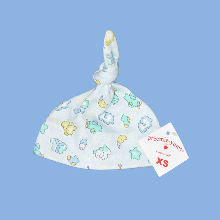 Preemie-Yums – Toy Hat Made with soft cotton rib, this hat has minimal hemming to reduce impact on very small baby's fragile skin. About Preemie-Yums Toy Hat • Size: 0–1.36kgs (0–3lbs) http://premmieto2.com.au/product/premature-baby-clothes-boys-preemieyums-cotton-hat/